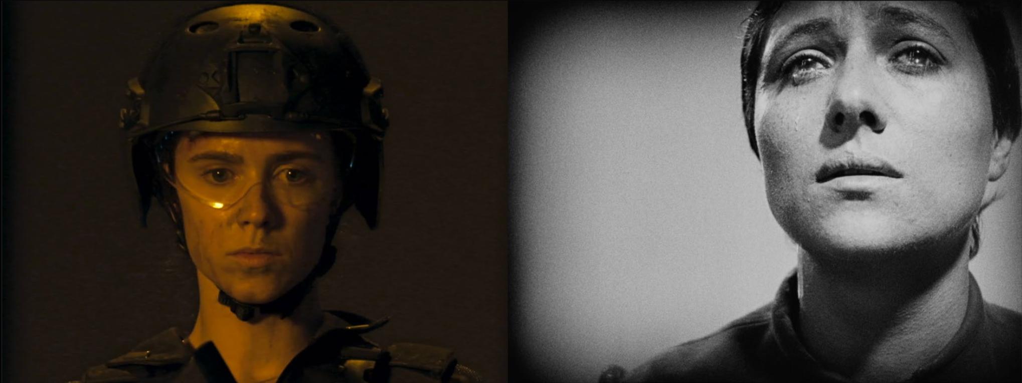 left side: woman in battle helmet; right side: b/w image of Joan of Arc--both are head shots