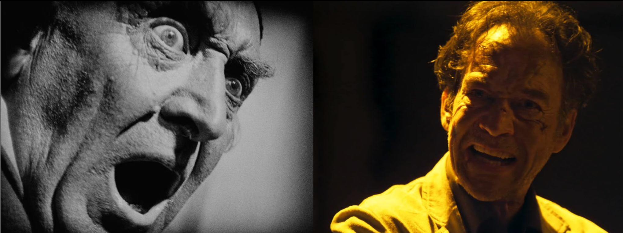 left: man with alarmed face (b/w), open mouth; right: man with angry face, open mouth (color)