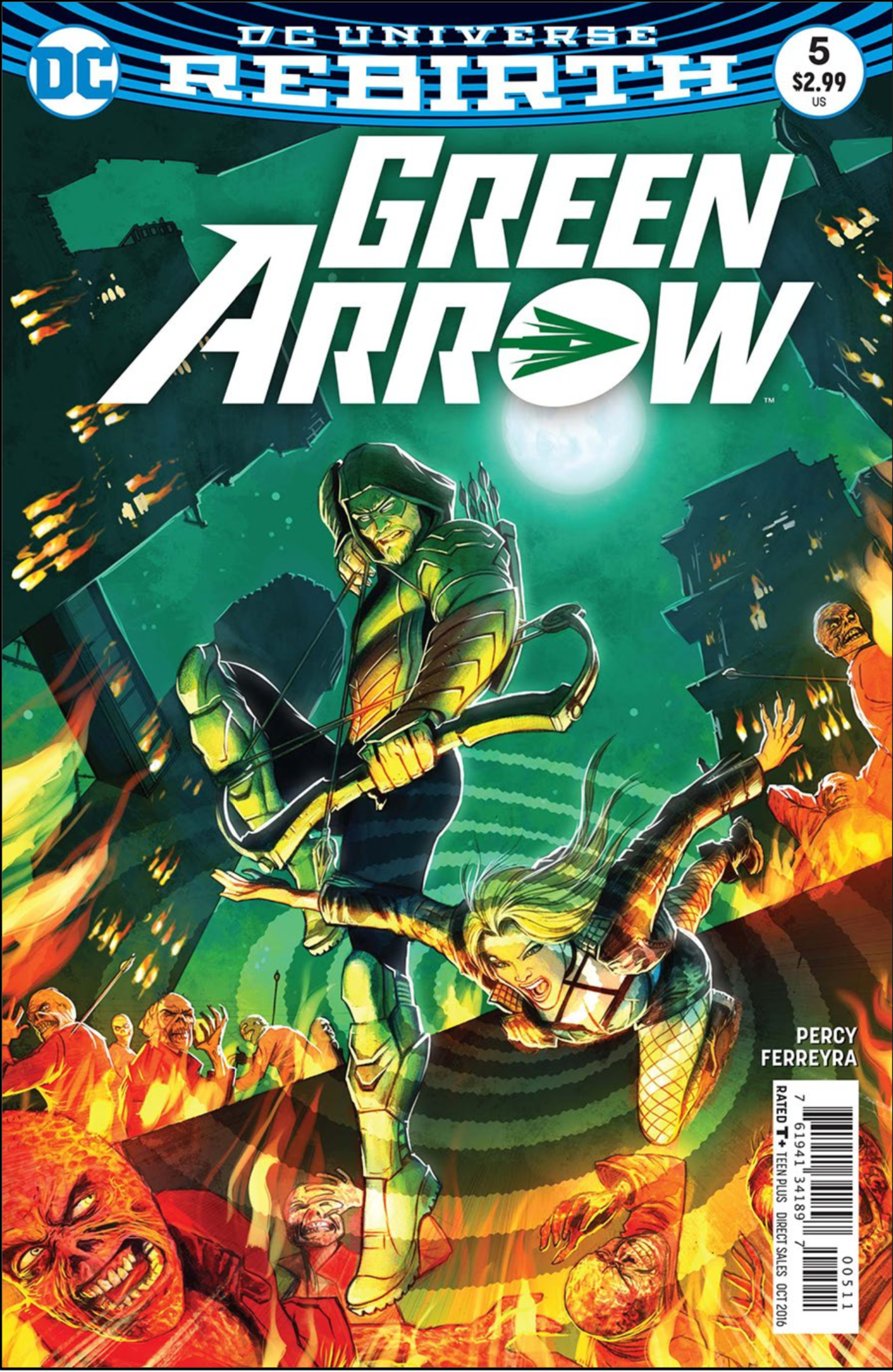 DC Universe Green Arrow wit comic illustration of greenish long-haird man with beard pointing a crossbow at someone.