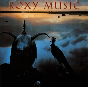 Roxy Music with image of knight and hawk at sunset